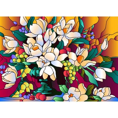 Витраж Букет магнолий Набор с рамкой для создания картины-витража Color Kit HG010