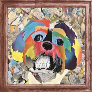 Разноцветная собака Набор для создания картины из пайеток CMD012