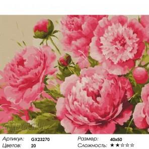 Количество цветов и сложность Крупные пионы Раскраска картина по номерам на холсте GX23270