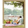 В рамке N118 Пикник у озера Раскраска картина по номерам на холсте