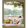 В рамке N133 Пикник у озера Раскраска картина по номерам на холсте