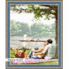 В рамке N182 Пикник у озера Раскраска картина по номерам на холсте