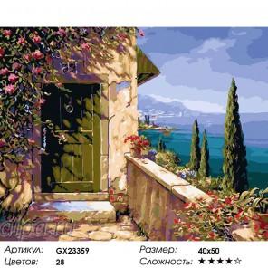 Количество цветов и сложность Дом с видом на море Раскраска картина по номерам на холсте GX23359