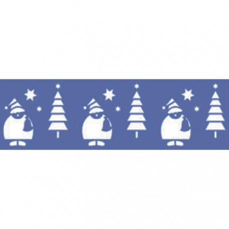 Санта и елочки Трафарет 10х33см Marabu