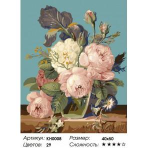 Сложность и количество цветов  Утренние пионы Раскраска по номерам на холсте KH0008