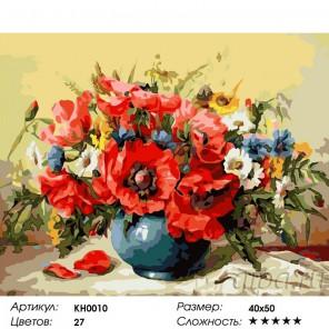 Сложность и количество цветов  Маковая фантазия Раскраска по номерам на холсте KH0010