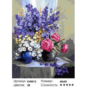 Сложность и количество цветов Букет Дельфиний Раскраска по номерам на холсте KH0012