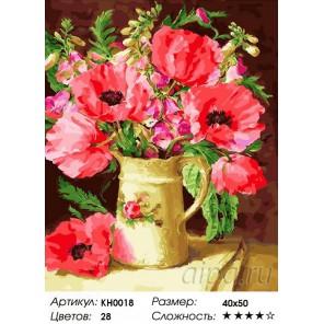 Сложность и количество цветов  Маковое утро Раскраска по номерам на холсте KH0018