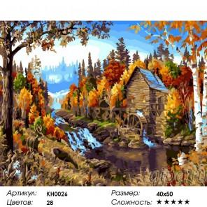 Сложность и количество цветов  Течение времени Раскраска по номерам на холсте KH0026