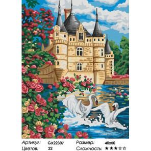 Количество цветов и сложность Замок с озером Раскраска картина по номерам на холсте GX22307