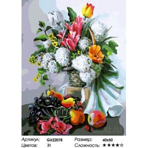 Количество цветов и сложность Цветы и фрукты Раскраска картина по номерам на холсте GX22078