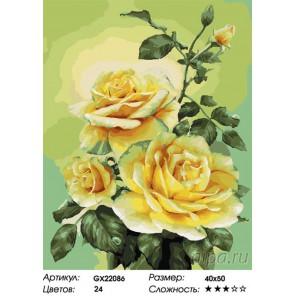 Количество цветов и сложность Куст роз Раскраска картина по номерам на холсте GX22086