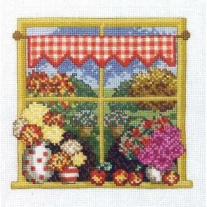 Осень в окошке Набор для вышивания Permin 12-4442