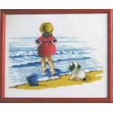Девочка с собакой Набор для вышивания Permin
