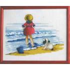 Девочка с собакой Набор для вышивания Permin 12-2153
