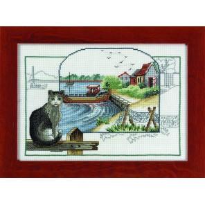 Серая кошка Набор для вышивания Permin 12-2306