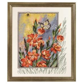 Паучок, бабочка в цветах Набор для вышивания Permin 70-4180