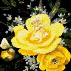 Фея на желтом пионе Набор для вышивания Kustom Krafts 98297