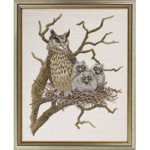 Сова с совятами в гнезде Набор для вышивания Eva Rosenstand 12-648