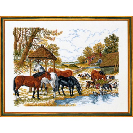 Лошади у водопоя Набор для вышивания Eva Rosenstand 14-200