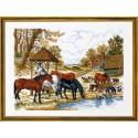 Лошади у водопоя Набор для вышивания Eva Rosenstand