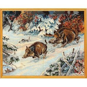 Кабанчики в зимнем лесу Набор для вышивания Eva Rosenstand 14-203