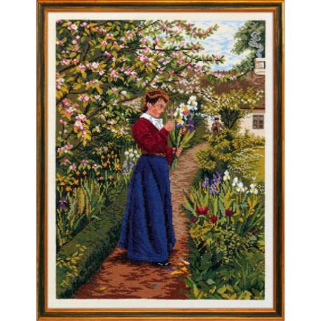 Дама с букетом ирисов Набор для вышивания Eva Rosenstand 12-832