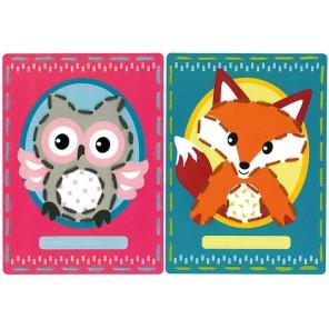 Сова и Лисенок на перфорированной бумаге Набор для вышивания Vervaco PN-0157034