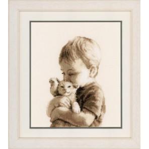 Мальчик с котёнком Набор для вышивания Vervaco PN-0148508