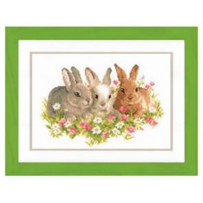 Кролики в цветочном поле Набор для вышивания Vervaco PN-0143866