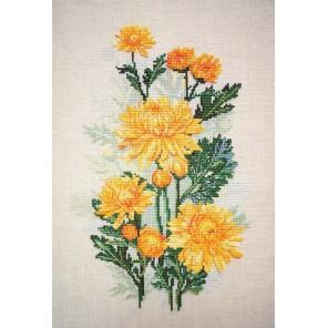 Желтые хризантемы Набор для вышивания Марья Искусница