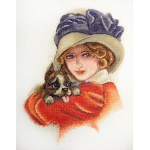 Дама с собачкой по картине Х. Фишера Набор для вышивания Марья Искусница