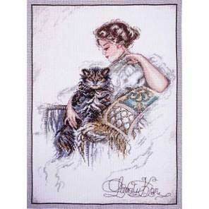 Дама и кот по картине Х. Фишера Набор для вышивания Марья Искусница