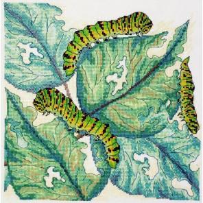Листья и гусеницы Набор для вышивания Марья Искусница