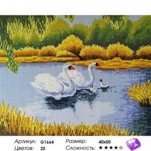Количество цветов и сложность Белые лебеди Алмазная мозаика вышивка на подрамнике Painting Diamond GF1664