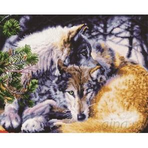 Волчья пара Алмазная мозаика вышивка на подрамнике Painting Diamond