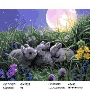 Сложность и количество цветов  Зайчатки под луной Раскраска по номерам на холсте GX9525