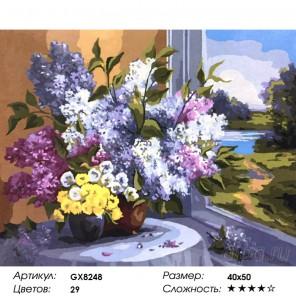 Количество цветов и сложность Сирень у окна Раскраска картина по номерам на холсте GX8248