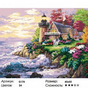 Количество цветов и сложность Дом у маяка Раскраска картина по номерам на холсте G174