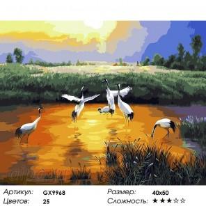 Птицы на озере Раскраска картина по номерам на холсте GX9968
