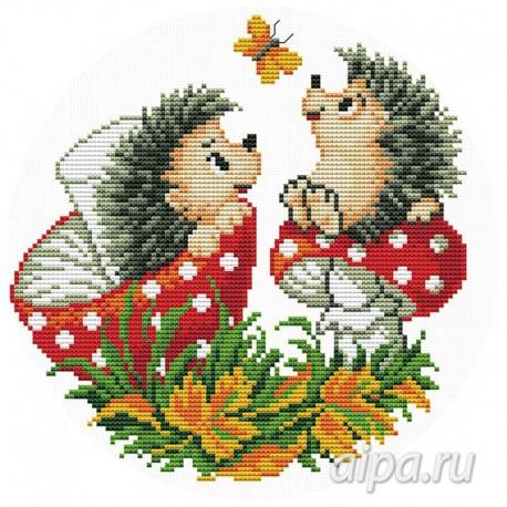 Ежи с грибами Набор для вышивания VC019
