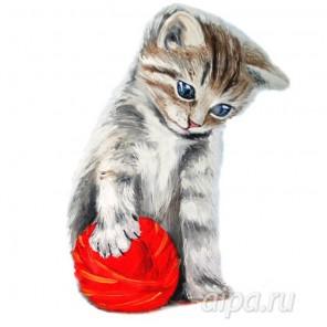 Котенок с красным клубком Набор для вышивания