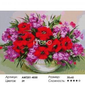 Количество цветов и сложность Композиция с маками Алмазная мозаика на твердой основе Iteso
