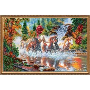Семерка лошадей Набор для вышивки бисером на натуральном художественном холсте АБРИС АРТ