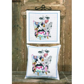 Читающая корова Набор для вышивания подушки PERMIN