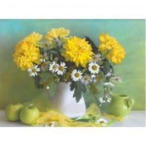 Желтые хризантемы Набор для вышивания лентами МАТРЕНИН ПОСАД