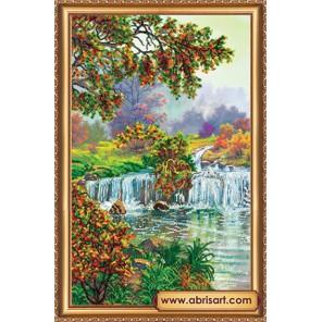 Райский уголок Набор для вышивки бисером на натуральном художественном холсте АБРИС АРТ