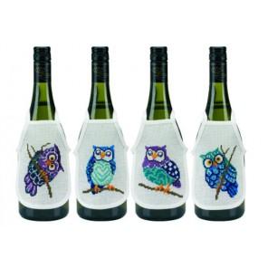 Совы Набор для вышивания фартучков на бутылку PERMIN