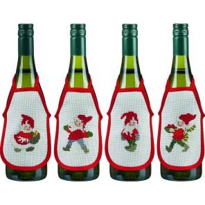 Счастливые Санты Набор для вышивания фартучков на бутылку PERMIN