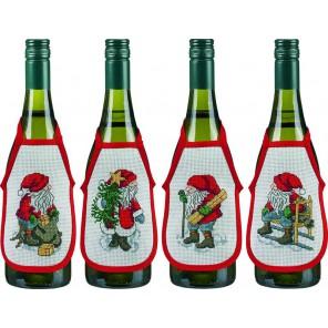 Рождественские гномы Набор для вышивания фартучков на бутылку PERMIN
